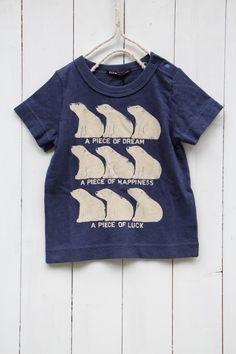 □天竺BEAR Tシャツ/ネイビー(4) - 100% picnic.
