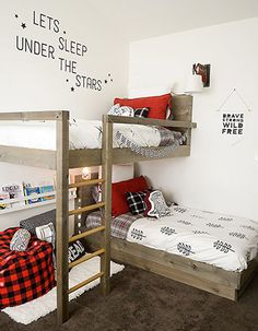 Use these free DIY bunk bed plans to build the bunk bed your kids have been dreaming about. All the bunk bed plans include diagrams and directions. Bunk Beds With Stairs, Kids Bunk Beds, Boys Bunk Bed Room Ideas, Bunkbeds For Small Room, Bunk Bed Ideas For Small Rooms, Boys Bedroom Ideas 8 Year Old, Loft Bunk Beds, Boys Shared Bedroom Ideas, Small Shared Bedroom