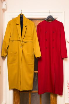 How Designer Suzanne Rae Empowers Women Through Fashion: Aside from encouraging her customers to embrace feminine liberation, Suzanne Rae is also conscious of her brand's environmental impact. -- Mustard and red coats | coveteur.com
