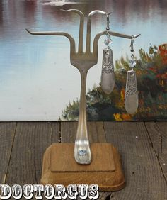 Fork Earring Display  Made From Antique Sterling