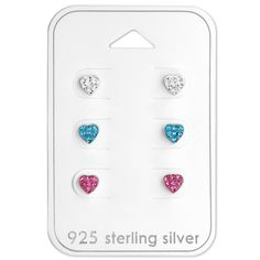 Children's Heart Set Real Sterling Silver Earrings - 3 Pairs  #rings #kids #sterling #jewelry #girls #silver #925 #gift #new #womans