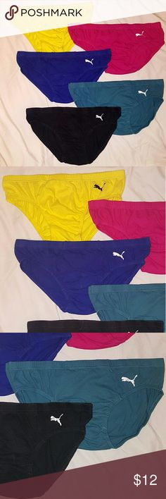 Puma Men's Low Rise Briefs Bundle 5 pairs The yellow pair is size large.  The other four are size XL. The black  pair has a very small tear on lower left backside and the cat logo is faded on a couple pair.  These briefs are classic and hard to find in store. Puma Underwear & Socks Briefs