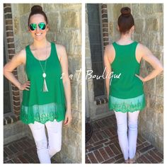 "SALE  Green with envy tank Gorgeous green tank with lace trim. Available in size S(2-4) M(6-8) L(10-12). BUST: measured flat from armpit to armpit. S-17"" M-18"" L-19"".   LENGTH: From top of shoulder to bottom hem is Approximately 31"". TK1225321.   5 star rated  I'm a size 10, 38D modeling size large in first photo 2 a T Boutique  Tops Tank Tops"