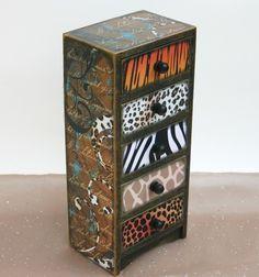 Decorated Trinket Jewelry Box Jungle Safari by NandJDesigns,