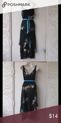 Black Maxi Dress W/Flowers Pattern - Layers & Belt This dress is really cute and adorable. Soft and comfy material. Lining. Belt included. Size Medium 10 - Almost New. save $$$ on. Bundles. Dresses Maxi