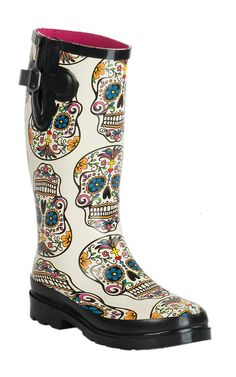 Blazin Roxx Women's Sugar Skull Cream Round Toe Rain Boots M&F Women's Cream Sugar Skull Round Toe Rain Boots Cute Shoes, Me Too Shoes, Original Ugg Boots, Sugar Skull Design, Over Boots, Skull Fashion, 50 Fashion, Cheap Fashion, Fashion Styles
