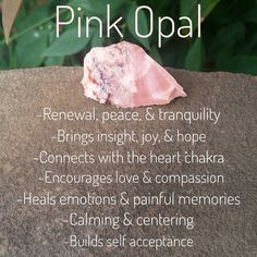 Pictured is Australian Pink Opal. Pink Opal is a love inspiring stone that helps to build compassion & ease emotional turbulence. Pink Opal was considered good luck to the Ancient Romans & the stone of the Gods. Chakra Crystals, Crystals Minerals, Crystals And Gemstones, Stones And Crystals, Gem Stones, Crystal Healing Stones, Crystal Magic, Crystal Meanings, Opal Crystal Meaning