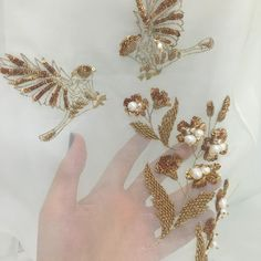 #MuseLuxeStyle - Sampling stages of gold sparrows on sparkling gold daffodils encrusted with pearls and metallic thread leaves - #MuseLuxeKarachi