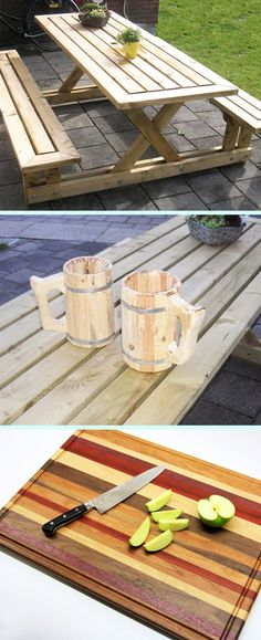 Just getting started with woodworking? These 50 projects are designed for beginners: picnic table, beer mug, cutting board, and more! wood projects projects diy projects for beginners projects ideas projects plans Wood Projects For Beginners, Wood Working For Beginners, Diy Wood Projects, Woodworking Shows, Popular Woodworking, Woodworking Machinery, Teds Woodworking, Woodworking Joints, Woodworking Projects For Kids