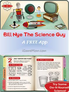 Bill Nye the Science Guy - A FREE App - a fun way to introduce kids to science Science Guy, 4th Grade Science, Science Experiments Kids, Elementary Science, Middle School Science, Preschool Science, Science Resources, Physical Science, Science Education