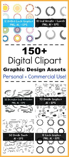 150 Digital Clipart Graphic Design Assets- These 150+ vector clipart files include leaf wreaths, laurels, circle frames, doodle arrows, flourishes, leaf swirls, and more! Use them to make your own printable wall art, do scrapbooking, enhance your website, create stickers, embellish typography, and anything else you can imagine! | vector clipart, AI files, EPS files, PNG files, 300 dpi, high-resolution clip art, graphic design elements, personal + commercial use permitted, black and white