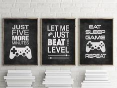 Set of 3 Black Video Game Prints Typography for Gamers or Matted Options Set of Three Video Game Prints in Black. These fun Typography prints are perfect for Gamer Enthusia Gamer Bedroom, Boys Bedroom Decor, Bedroom Themes, Bedroom Ideas, Teen Boy Bedrooms, Lego Bedroom, Tiny Bedrooms, Childs Bedroom, Girl Rooms