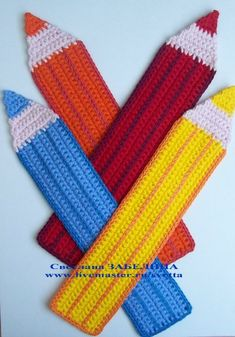 Crochet Knit Statement Pencils Blanket Throws Scarves Floor Mats Rugs Wall Art etc... These would make awesome teacher gifts...