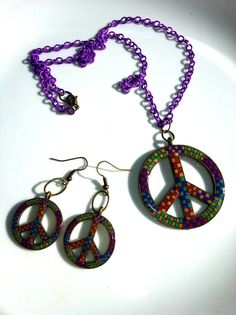 Colorful Peace Sign Necklace & Earring Set by AbsoluteJewelry, $22.00 #etsy #handmade #peacesign #jewelry #summer #colorful #bright #chain #metal #jewelrysets #gift #hippie