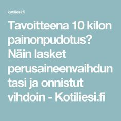 Tavoitteena 10 kilon painonpudotus? Näin lasket perusaineenvaihduntasi ja onnistut vihdoin - Kotiliesi.fi Get A Life, Fat To Fit, Natural Living, Healthy Habits, Stay Fit, Pain Relief, Gym Workouts, Healthy Lifestyle, Health Fitness
