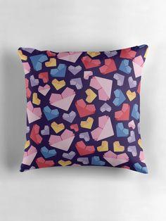 """Origami Heart"" Throw Pillows by ZaryaKiqo | Redbubble. Origami heart inspired seamless pattern. Cute origami heart."