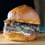 Wagyu Beef Burger with Red Wine Caramelized Onions, and Roasted Garlic Aioli