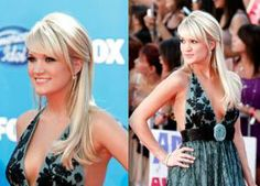 Carrie wore her hair straight and half-up, half-down for the American