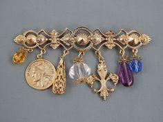 Estate Victorian Revival Chatelaine Couture Statement Brooch Pin Fleur De Lis