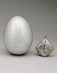 The Nobel Ice Egg with watch pendant surprise, commissioned by Emanuel Nobel, a noted collector of Fabergé. Image courtesy of the The Forbes Collection.