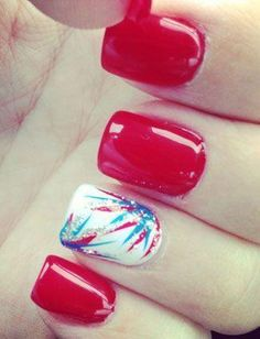 Red, White and Blue nails! of July nails! Get Nails, Fancy Nails, Love Nails, How To Do Nails, Pretty Nails, Hair And Nails, Milky Nails, Patriotic Nails, Nails Polish