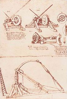 "ARTIST SPOTLIGHT: Leonardo da Vinci Leonardo ""Designs for a Catapult"" 