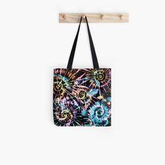 Tie Dye Tote Bag Spiral Aqua Grocery Size Tote  Cotton