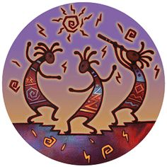 "Southwest Spirit Coasters - ""Kokopelli Dance"". Desert Canyon Gifts presents a variety of Southwestern Themed Beverage Coasters. Everything from cactus images to kokopelli, geckos, pottery, etc. These sandstone coasters are great accents to your Southwest Decor or simply purchase for a gift for any occasion. Made from natural sandstone - cork backing. 4"" diameter. Set of 4 - $19.99"