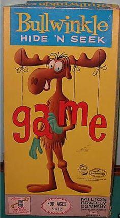 MILTON BRADLEY: 1961 Bullwinkle Hide 'n Seek Game #Vintage #Games