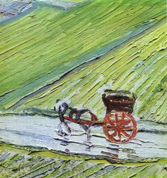 Vincent van Gogh- A Road in Auvers after the Rain detail