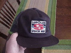 a498eac1c20 Vintage Land O Lakes Mesh SnapBack Trucker Hat Cap Navy Adjustable