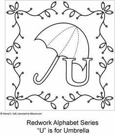 U is for Umbrella - Redwork Alphabet Series