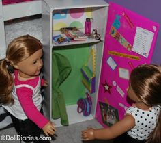 How to make a doll sized school locker.  This is so cool!