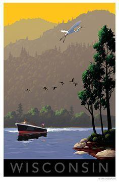 Milwaukee Skyline Art Print, Wisconsin Poster, Milwaukee Wall art ...  Wisconsin Lakes