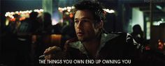'Fight Club' Has A Bunch Of Hidden Clues That Give Away The Film's Big Twist Ending Awesome Movie - one of only a few movies that I could not guess the ending to within the first 5 minutes. the other was sense. Famous Movie Quotes, Film Quotes, Cinema Quotes, Fight Club Quotes, Fight Club 1999, Film Big, 12 Monkeys, Big Twist, Tyler Durden