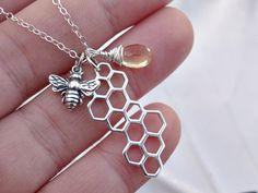 Sterling silver bee & Honey comb charm necklace with genuine yellow Quartz gemstone, bee jewelry, honey bee, honey comb charm, summer, chic