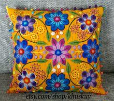 Peru Pillow Hand embroidered flowers Sheep & alpaca wool 16 x 16 handmade Gold Mustard Yellow Peruvian cushion by khuskuy on Etsy