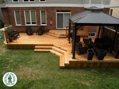 Image result for 18 ft above ground pool with two tiered deck