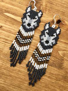 Items similar to Handmade beaded Grey wolf earrings with diamonds on Etsy Seed Bead Jewelry, Seed Bead Earrings, Etsy Earrings, Seed Beads, Native Beading Patterns, Seed Bead Patterns, Weaving Patterns, Beaded Earrings Native, Beaded Earrings Patterns