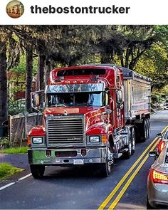"From ""thebostontrucker"" on Instagram. Beautiful red Mack Truck. Follow him in Instagram to see some great pictures of large trucks."