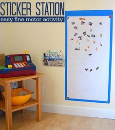 Sticker Station - Easy Fine Motor Activity - No Time For Flash Cards sticker station GREAT activity for 3 year olds. Preschool Fine Motor Skills, Fine Motor Activities For Kids, Motor Skills Activities, Toddler Learning Activities, Preschool Activities, Preschool Centers, Number Activities, Nutrition Activities, Learning Centers