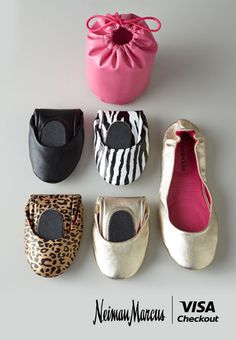 On your next city adventure, take these foldable ballet flats with you, so you can see every sight with style and grace. And while you're at it, use Visa Checkout online at Neiman Marcus to make buying these flats as effortless as possible. | Visa Checkout helps you go from pin to reality, in just a few clicks.