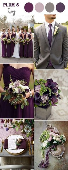 8 Perfect Fall Wedding Color Combos To Steal In Classic plum purple and grey rustic wedding Best Wedding Colors, Winter Wedding Colors, Wedding Color Schemes, Wedding Themes, Wedding Decorations, Purple Wedding Colors, April Wedding Colors, Plum Wedding Flowers, Rustic Wedding Colors