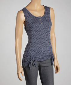 Take a look at this Indigo Ruched Sleeveless Top by Zashi on #zulily today!