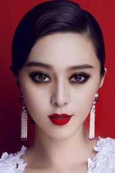 #Asian Fan BingBing- smokey eyes, deep red lips, dangly earrings