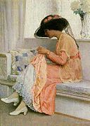 View A stitch in time by William Henry Margetson on artnet. Browse upcoming and past auction lots by William Henry Margetson. Images Vintage, Vintage Art, Woman Painting, Figure Painting, Illustrations, Illustration Art, Mode Poster, Sewing Art, Renoir
