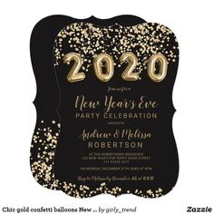 Chic gold confetti balloons New Year's eve 2020 Invitation. Designed for youby Girly Trend New Years Eve Invitations, Holiday Invitations, Custom Invitations, Party Invitations, Invites, Gold Confetti Balloons, Glitter Confetti, New Years Eve Music, New Year's Eve 2020
