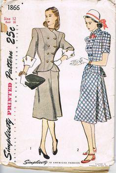 1940s Dress Pattern Vintage Simplicity 1866 Junior Misses Skirt Jacket SALE - Bombshell Pinup Retro Sewing Patterns Supplies Sew DIY. $12.00, via Etsy.