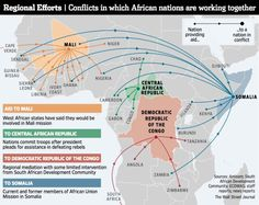 Map of conflicts in which African nations are working together: