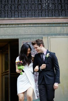 21 Couples Tie The Knot At City Hall! #refinery29  http://www.refinery29.com/city-hall-wedding-style#slide1  Rosa and Jon share the walk down the famous City Hall steps.